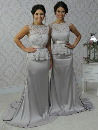 Open Back Scalloped Neck Lace Silk-like Satin Sashes / Ribbons Trumpet/Mermaid Bridesmaid Dress #PWD01012788