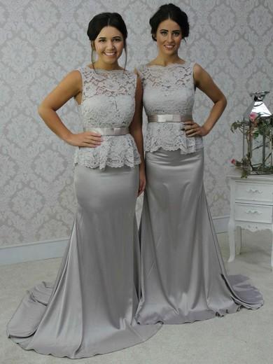 Open Back Scalloped Neck Lace Silk-like Satin Sashes / Ribbons Trumpet/Mermaid Bridesmaid Dress #PWD01012788