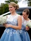 Boutique Scoop Neck Tulle Sashes / Ribbons Tea-length Bridesmaid Dress #PWD01012790