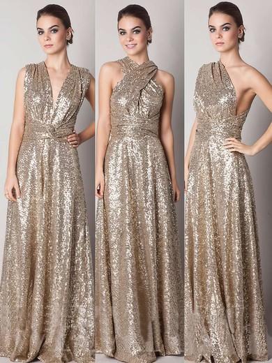 Designer Gold V-neck Sequined A-line Backless Bridesmaid Dresses #PWD01012791