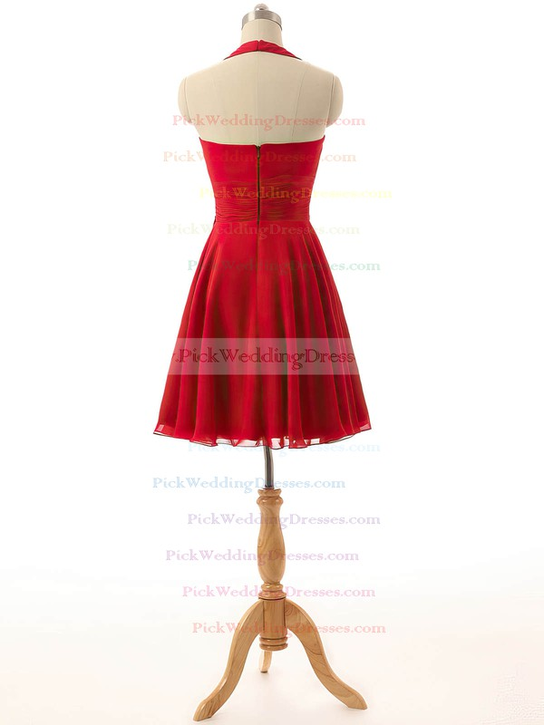 Short/Mini Ruffles Chiffon Red Halter Cheap Bridesmaid Dresses #PWD01012792