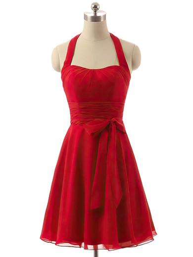 Short/Mini Ruffles Chiffon Red Halter Cheap Bridesmaid Dresses #PWD01012792