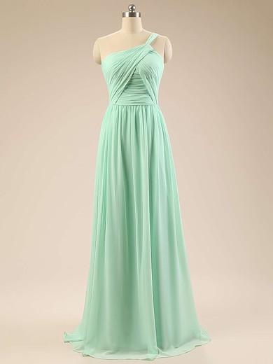 Elegant Sage Chiffon Sweep Train Ruffles One Shoulder Bridesmaid Dresses #PWD01012793
