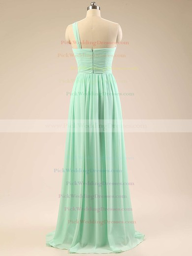 Elegant Sage Chiffon Sweep Train Ruffles One Shoulder Bridesmaid Dresses #PWD01012793
