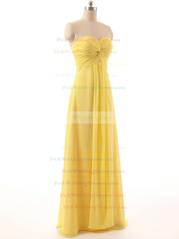 Sweetheart Unique Chiffon Floor-length Criss Cross Yellow Bridesmaid Dresses #PWD01012794