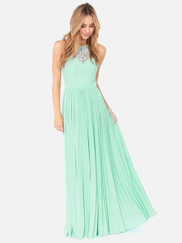 Scoop Neck Sage Lace Chiffon with Pleats Online Long Bridesmaid Dresses #PWD01012795
