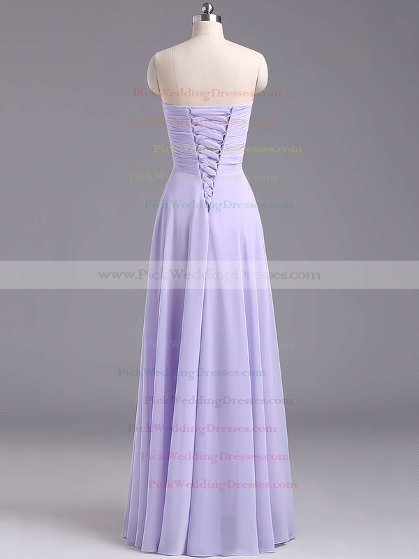 2016 Sweetheart Chiffon Ruffles Floor-length Lavender Bridesmaid Dresses #PWD01012796