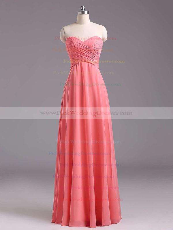 2016 Sweetheart Chiffon Ruffles Floor-length Lavender Bridesmaid Dresses #PWD01012796