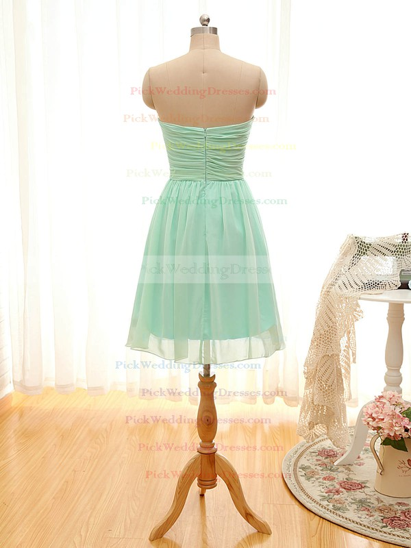 A-line Short/Mini Sweetheart Chiffon Ruffles Sage Bridesmaid Dresses #PWD01012797