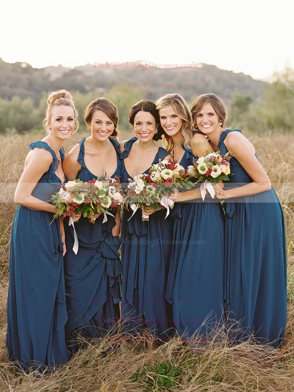 V-neck Chiffon with Ruffles Floor-length Dark Navy Bridesmaid Dresses #PWD01012798