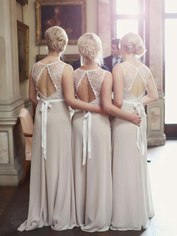 Best A-line Lace Chiffon Sashes / Ribbons Scoop Neck Open Back Bridesmaid Dresses #PWD01012799