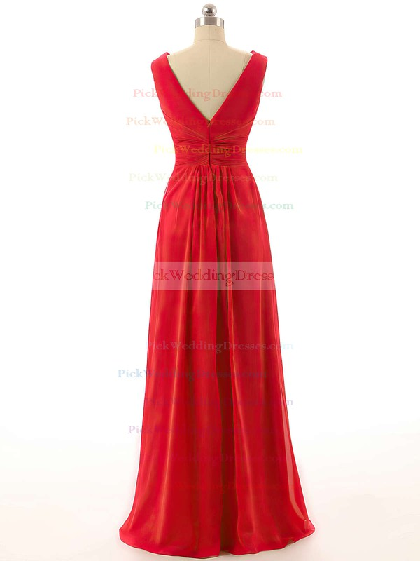 Womens V-neck Empire Chiffon with Ruffles Red Bridesmaid Dresses #PWD01012800