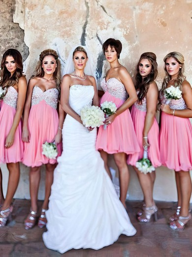 Empire Pink Chiffon Beading Short/Mini Sweetheart Bridesmaid Dresses #PWD01012801