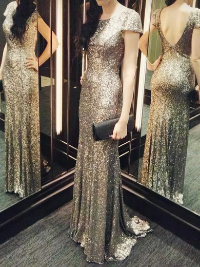 Short Sleeve Scoop Neck Sheath/Column Sequined Backless Bridesmaid Dresses #PWD01012803