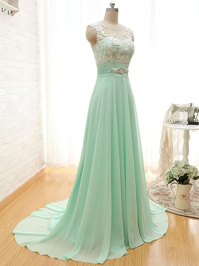Ladies Scoop Neck Chiffon Appliques Lace Sage Court Train Bridesmaid Dresses #PWD01012804