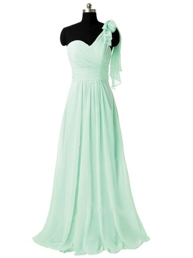 One Shoulder Sweep Train Sage Ruffles Chiffon Gorgeous Bridesmaid Dresses #PWD01012805