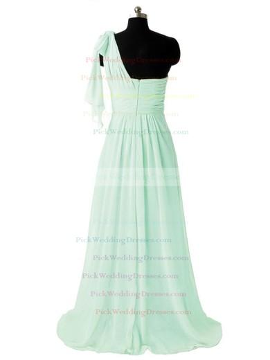 One Shoulder Sweep Train Sage Ruffles Chiffon Gorgeous Bridesmaid Dresses #PWD01012805