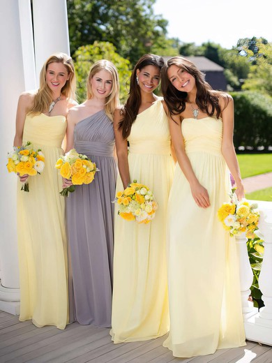 Beautiful A-line Chiffon Ruffles Light Yellow One Shoulder Bridesmaid Dresses #PWD01012806