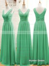 Sage V-neck Ruffles Chiffon Floor-length Classy Bridesmaid Dresses #PWD01012807