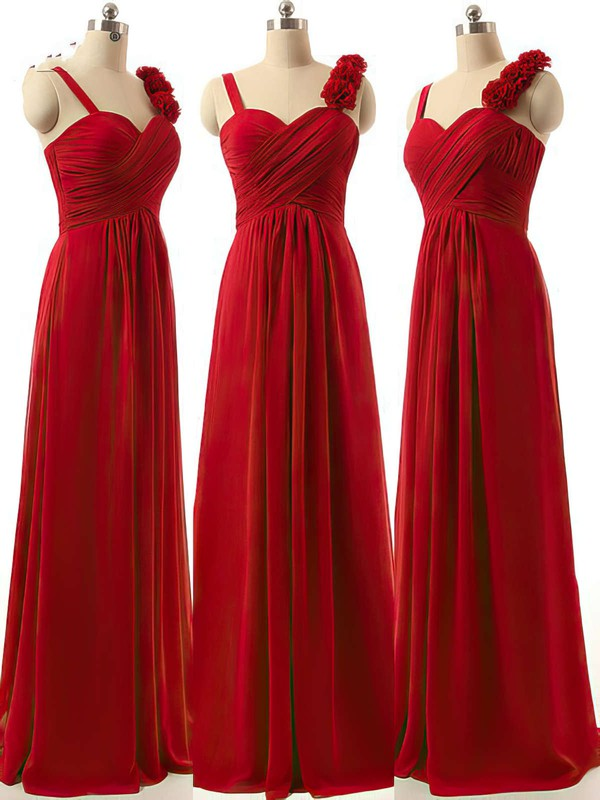 Sweetheart A-line Ruffles Chiffon Burgundy Discount Bridesmaid Dresses #PWD01012808