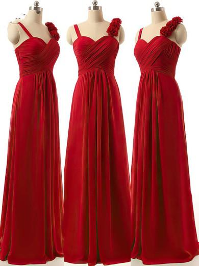 Sweetheart A-line Ruffles Chiffon Burgundy Discount Bridesmaid Dresses #PWD01012808