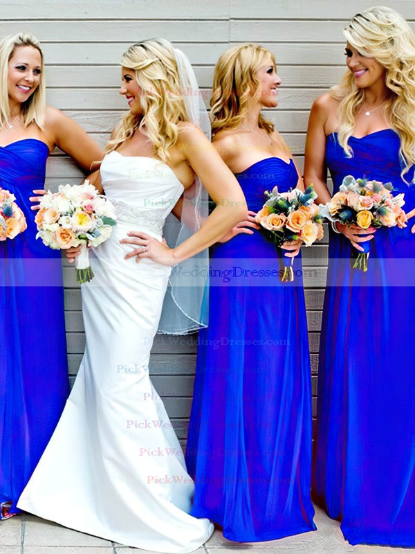 Royal Blue Ruffles Sweetheart Chiffon Empire Stunning Bridesmaid Dresses #PWD01012809