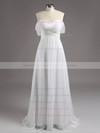 Off-the-shoulder Silver Ruffles Tulle A-line Juniors Bridesmaid Dresses #PWD01012810