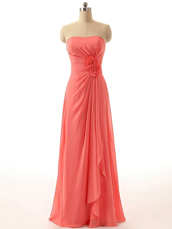 Wholesale Chiffon Floor-length with Flower(s) Strapless Bridesmaid Dresses #PWD01012811