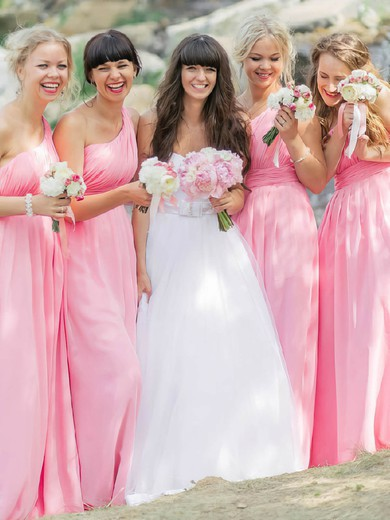 Floor-length Pink One Shoulder Chiffon Ruffles Promotion Bridesmaid Dresses #PWD01012812