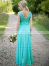 Scoop Neck Floor-length Ruched Lace Chiffon Pretty Bridesmaid Dresses #PWD01012813