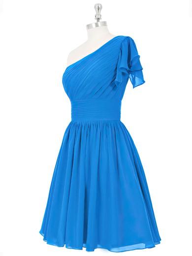 Blue One Shoulder Short/Mini Ruched Chiffon Summer Bridesmaid Dresses #PWD01012815