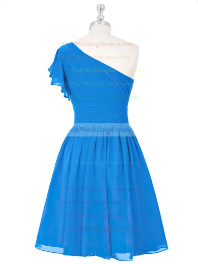 Blue One Shoulder Short/Mini Ruched Chiffon Summer Bridesmaid Dresses #PWD01012815