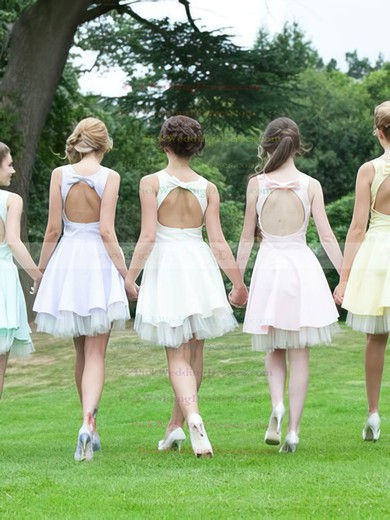 Open Back A-line Short/Mini Satin Tulle with Bow Cute Bridesmaid Dresses #PWD01012816