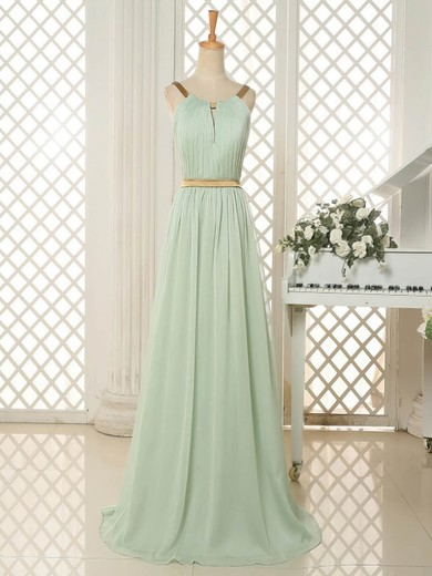 Sweep Train Scoop Neck Ruffles Sage Chiffon Open Back Bridesmaid Dresses #PWD01012818
