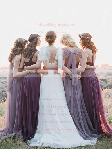 Affordable Ruffles Tulle Sweep Train Halter Bridesmaid Dresses #PWD01012819