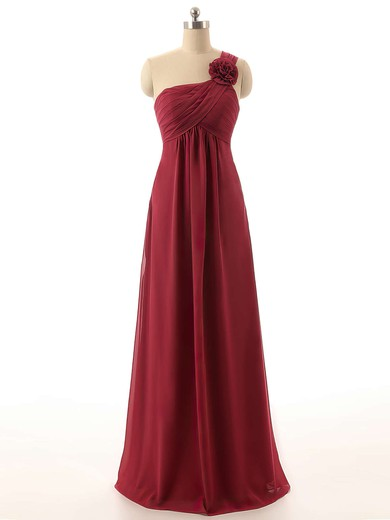 Burgundy One Shoulder Chiffon Flower(s) Fashion Empire Bridesmaid Dresses #PWD01012820