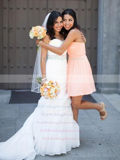 Short/Mini Ruffles Pink Sweetheart Chiffon Latest Bridesmaid Dresses #PWD01012821