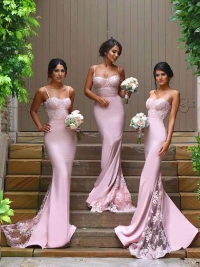 Trumpet/Mermaid Silk-like Satin Appliques Lace Sweetheart Amazing Bridesmaid Dresses #PWD01012822