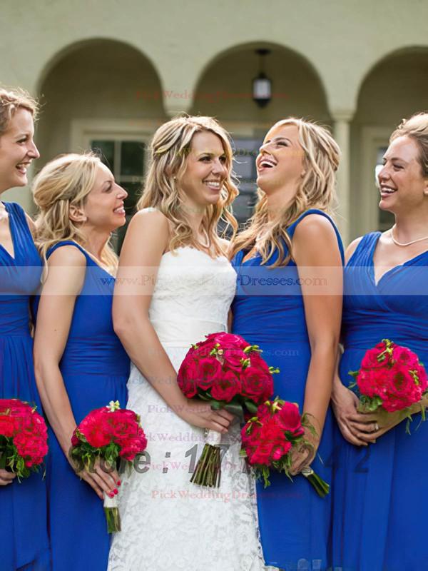V-neck Royal Blue Knee-length Ruffles Chiffon Simple Bridesmaid Dresses #PWD01012823