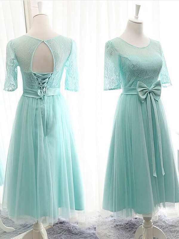 1/2 Sleeve Scoop Neck Knee-length Lace Tulle with Bow Different Bridesmaid Dresses #PWD01012824