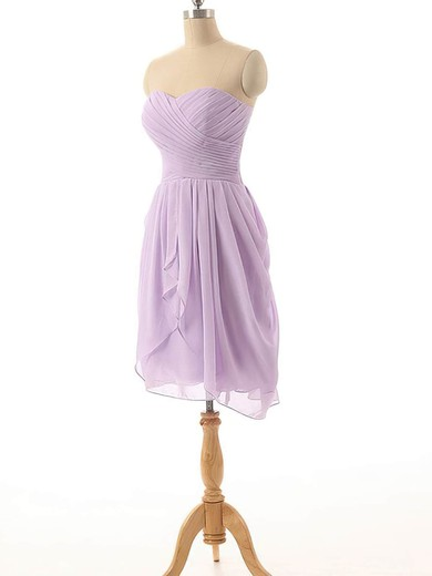 Girls Short/Mini Sweetheart Ruffles Chiffon Lavender Bridesmaid Dress #PWD01012825
