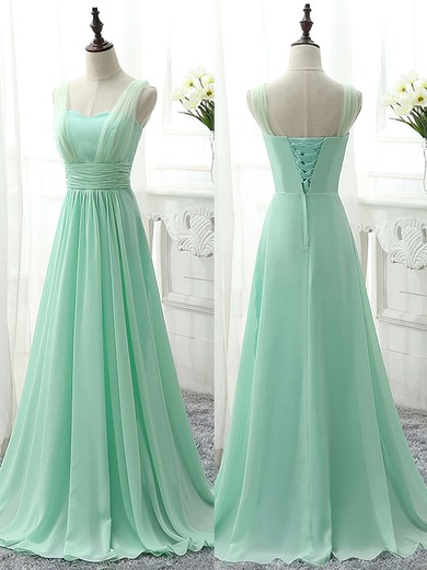 Sweetheart Chiffon Ruffles Sweep Train Modest Sage Bridesmaid Dress #PWD01012826