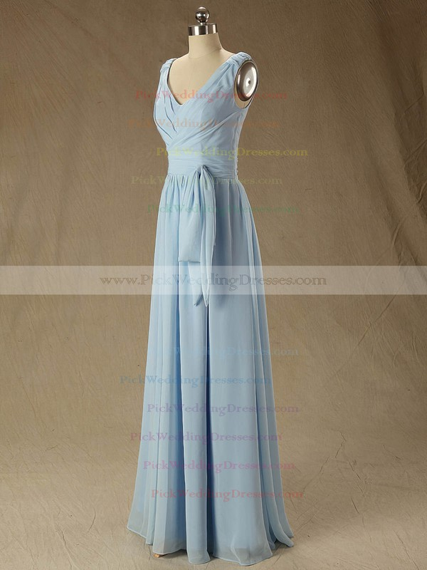 Floor-length Blue V-neck Ruffles Chiffon Classic Bridesmaid Dress #PWD01012827
