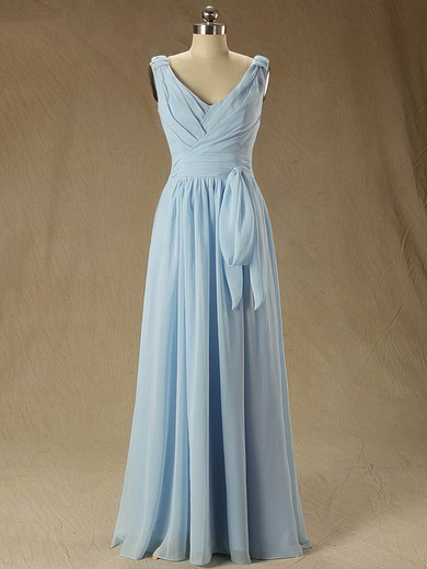Floor-length Blue V-neck Ruffles Chiffon Classic Bridesmaid Dress #PWD01012827