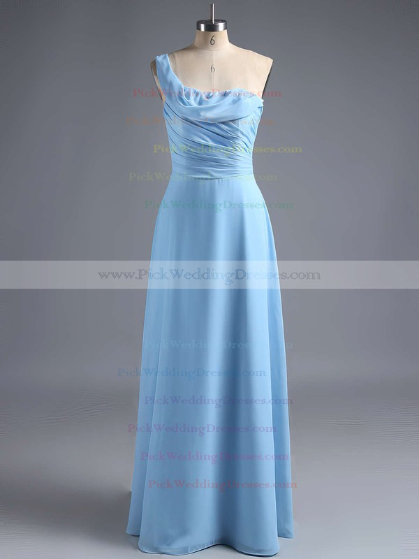 Sheath/Column One Shoulder Ruffles Chiffon Popular Bridesmaid Dress #PWD01012828