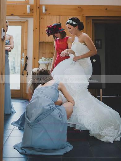 Sheath/Column One Shoulder Ruffles Chiffon Popular Bridesmaid Dress #PWD01012828