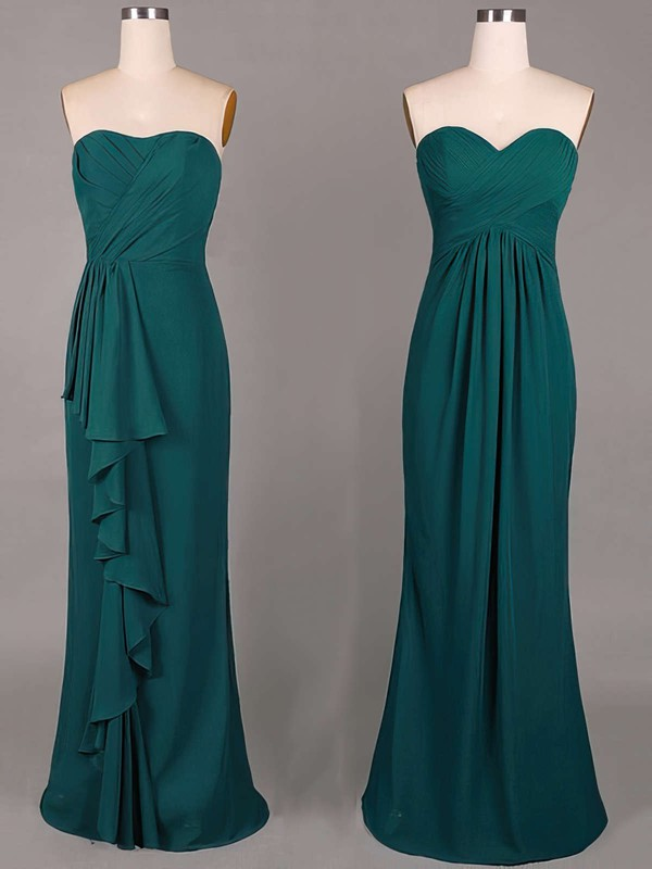 Sheath/Column Ruffles Chiffon Sweetheart Cheap Dark Green Bridesmaid Dresses #PWD01012859
