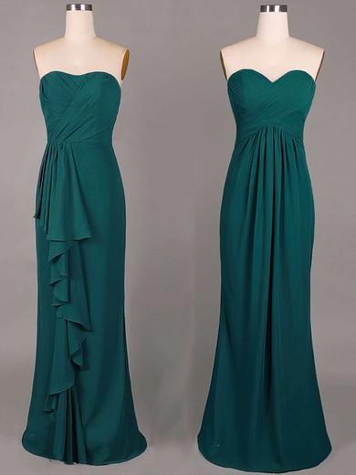 Sheath/Column Ruffles Chiffon Sweetheart Cheap Dark Green Bridesmaid Dresses #PWD01012859