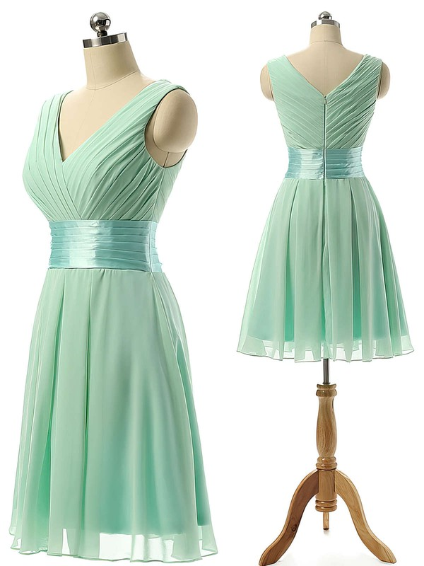 Knee-length Sage Chiffon Sashes / Ribbons V-neck Elegant Bridesmaid Dresses #PWD01012860