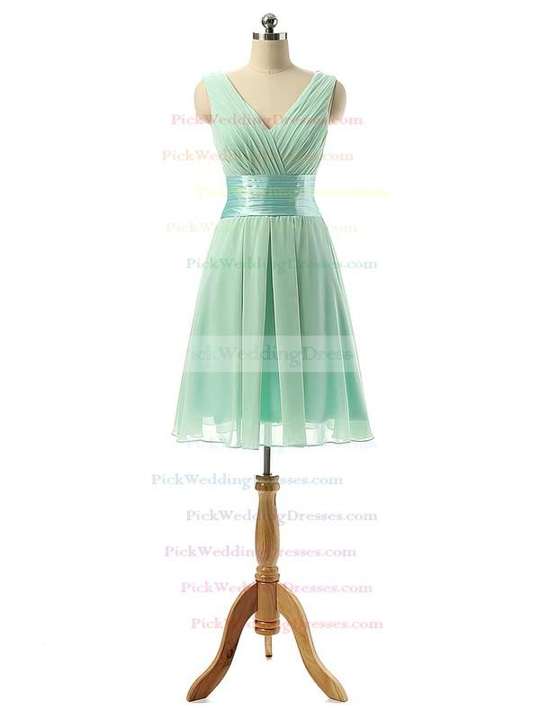 Knee-length Sage Chiffon Sashes / Ribbons V-neck Elegant Bridesmaid Dresses #PWD01012860